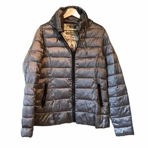 A.N.A Silver Grey Hooded Packable Puffer Jacket LT